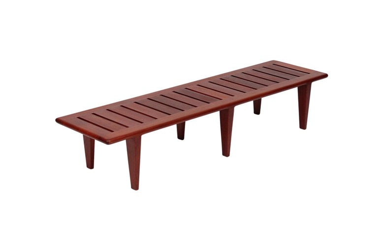 Scandinavian Modern Hans Wegner Slatted Bench for Johannes Hansen For Sale