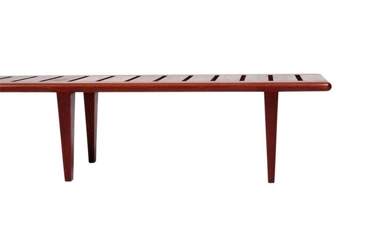 Teak Hans Wegner Slatted Bench for Johannes Hansen For Sale
