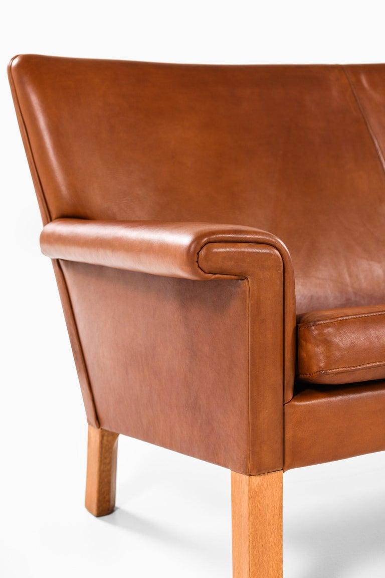 Leather Hans Wegner Sofa Model AP-64 Produced by AP-Stolen in Denmark For Sale