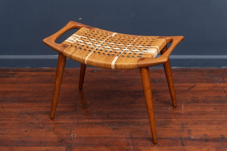 Scandinavian Modern Hans Wegner Stool for Johannes Hansen For Sale