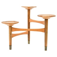1950s Danish Beech and Brass Stand