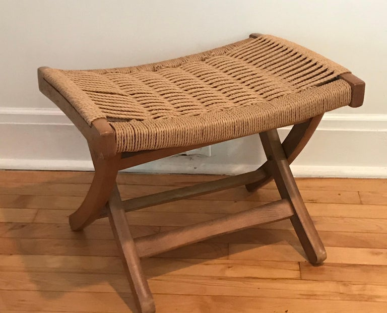 Macedonian Lounge Chair with Ottoman, Oak with Woven Seat, Yugoslavia For Sale