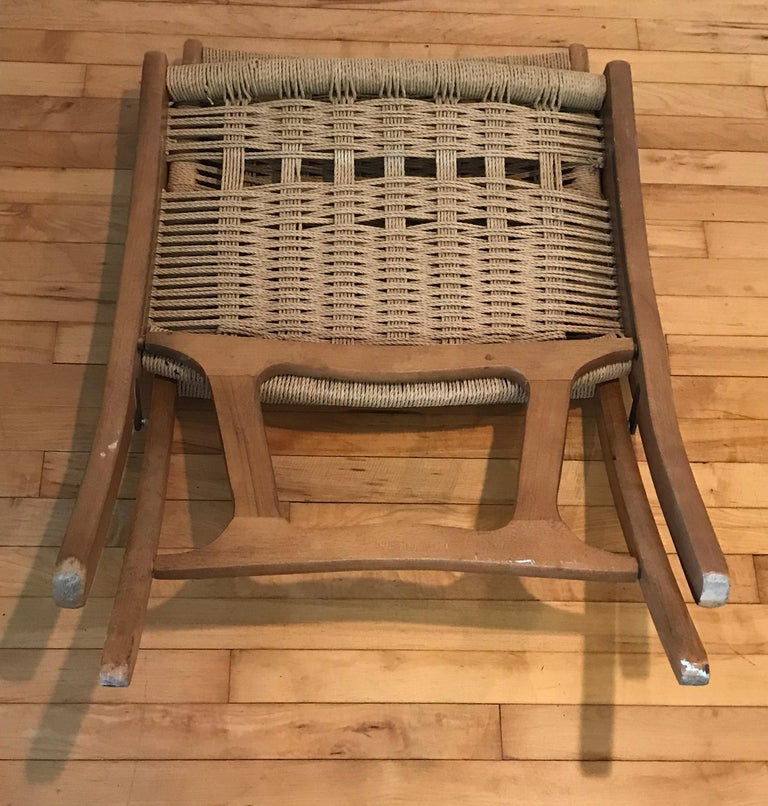 Lounge Chair with Ottoman, Oak with Woven Seat, Yugoslavia In Good Condition For Sale In Bedford Hills, NY