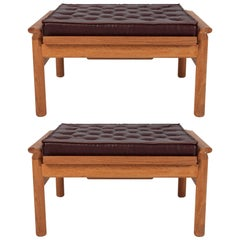 Hans Wegner Style Ottomans with Padded Leather Cushions