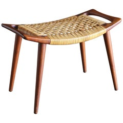 Hans Wegner Teak and Cane Stool for Johannes Hansen, circa 1955