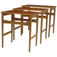 Hans Wegner Teak and Oak Danish Nesting Side Tables