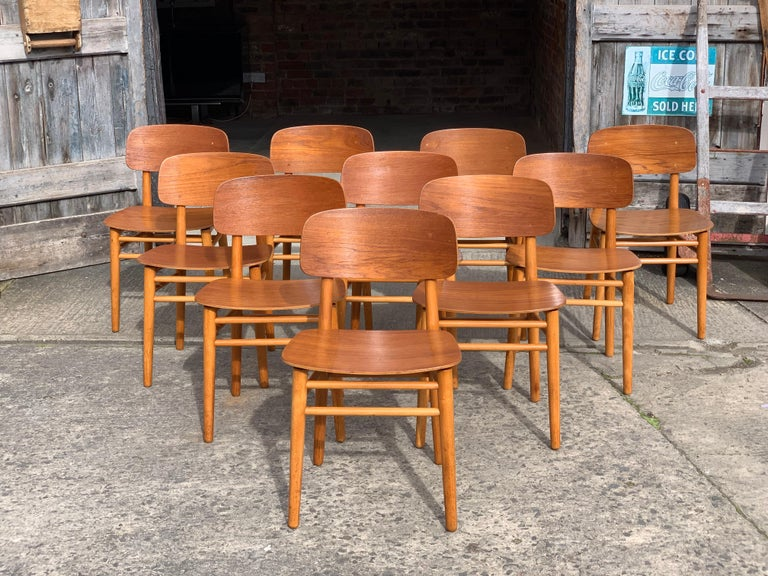 Hans Wegner Teak Dining Chairs Set of Ten for Fritz Hansen 4101, Denmark For Sale 8