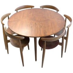 Hans Wegner Teak Dining Table and Six Heart Chairs by Fritz Hansen Denmark 1950s