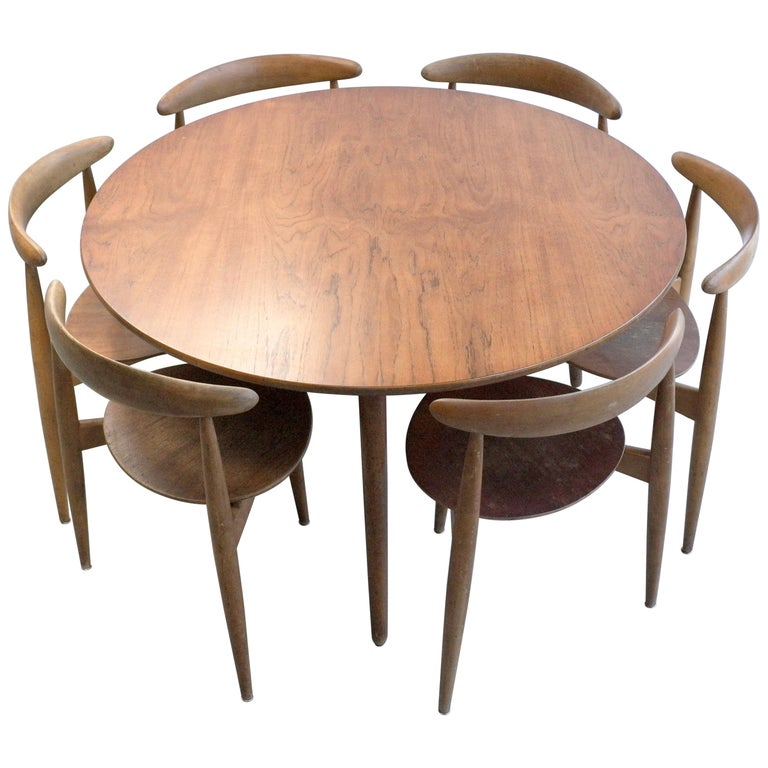 Remarkable Hans Wegner Teak Dining Table And Six Heart Chairs By Fritz Hansen Denmark 1950S Squirreltailoven Fun Painted Chair Ideas Images Squirreltailovenorg