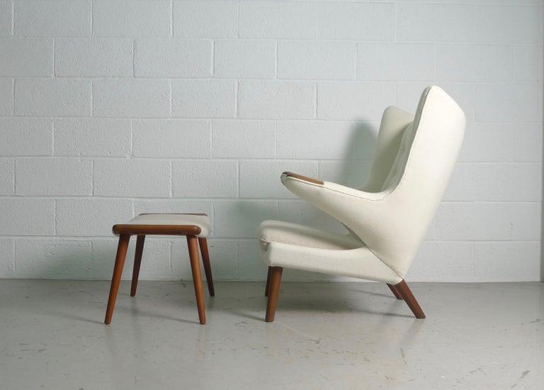 Mid-Century Modern Hans Wegner Teak Papa Bear Chair and Ottoman, AP Stolen, 1951, Denmark For Sale