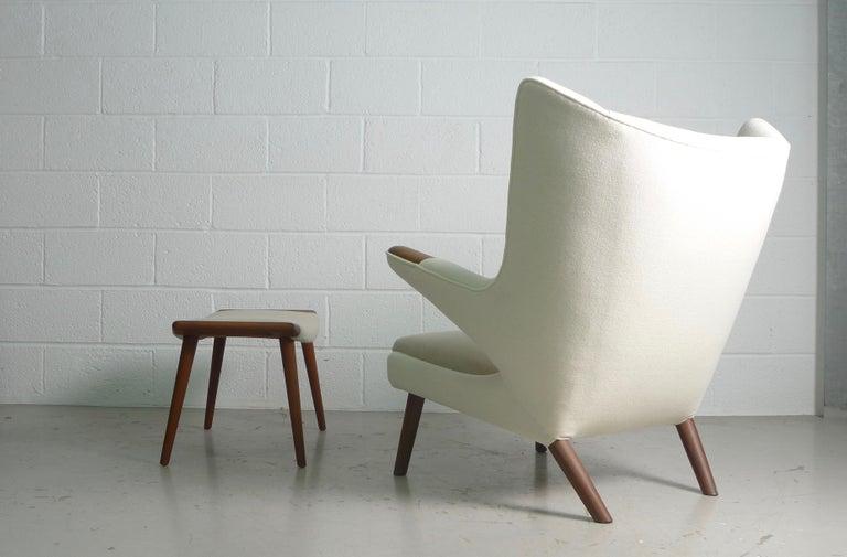 Danish Hans Wegner Teak Papa Bear Chair and Ottoman, AP Stolen, 1951, Denmark For Sale