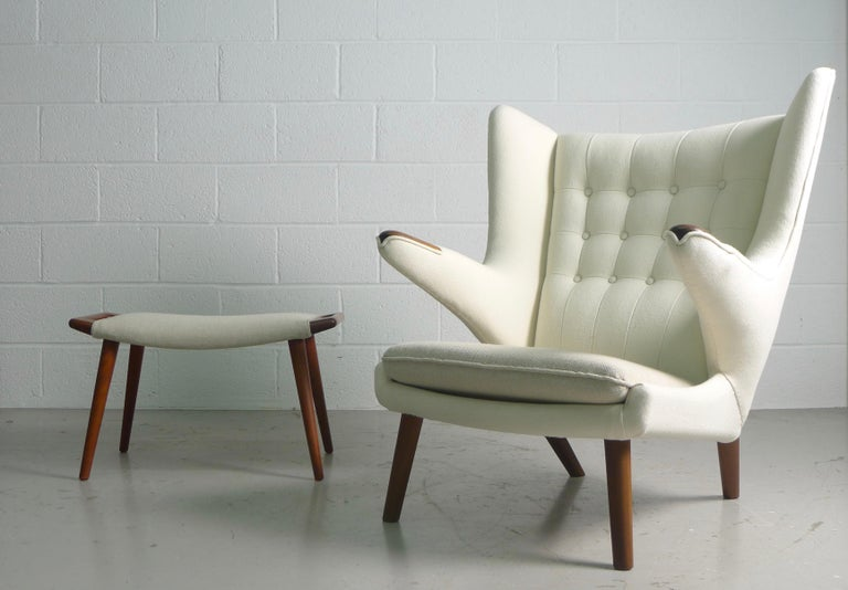 Hans Wegner Teak Papa Bear Chair and Ottoman, AP Stolen, 1951, Denmark In Good Condition For Sale In Wargrave, Berkshire
