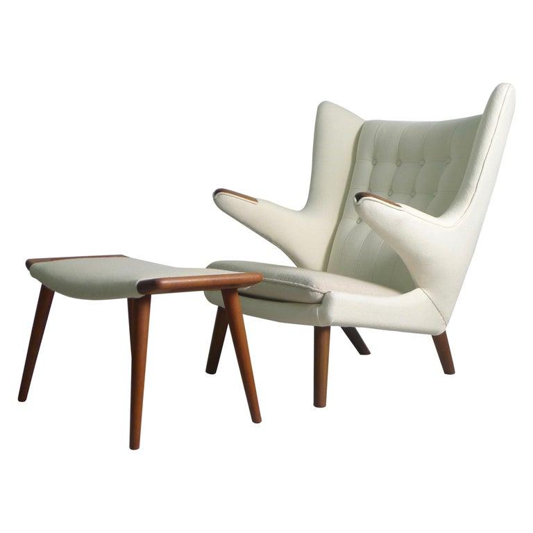 Hans Wegner Teak Papa Bear Chair and Ottoman, AP Stolen, 1951, Denmark For Sale