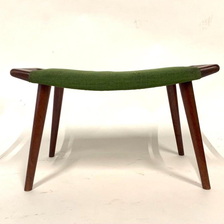 Mid-Century Modern Hans Wegner Teak Papa Bear Chair Ottoman or Stool by A.P. Stolen Denmark w Label For Sale