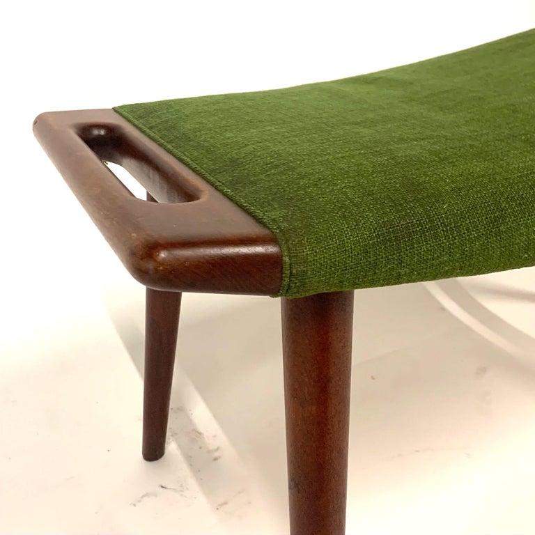 Danish Hans Wegner Teak Papa Bear Chair Ottoman or Stool by A.P. Stolen Denmark w Label For Sale