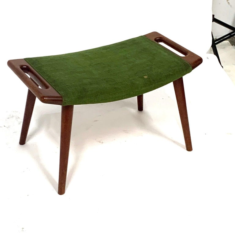 Mid-20th Century Hans Wegner Teak Papa Bear Chair Ottoman or Stool by A.P. Stolen Denmark w Label For Sale