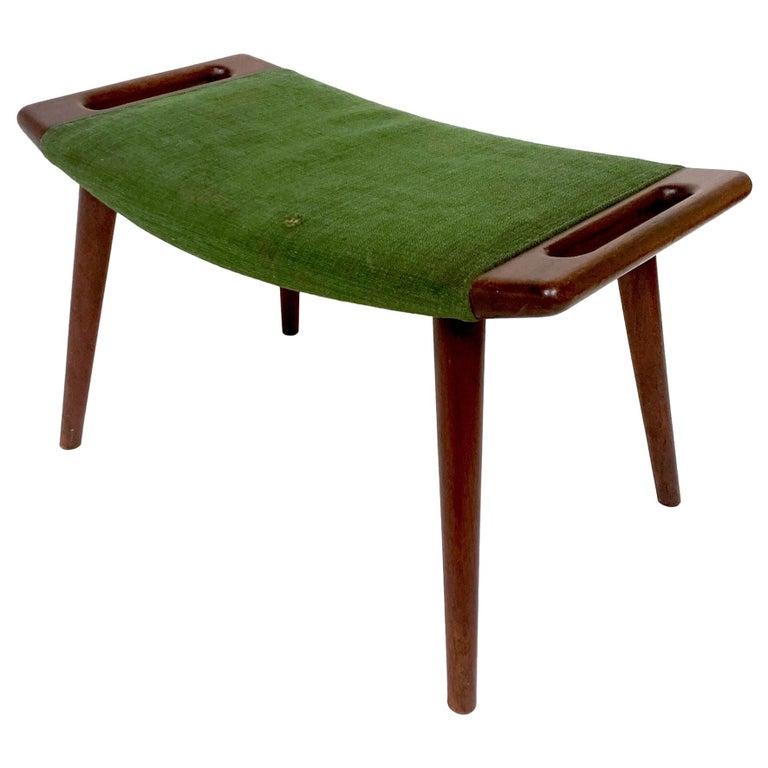 Hans Wegner Teak Papa Bear Chair Ottoman or Stool by A.P. Stolen Denmark w Label For Sale