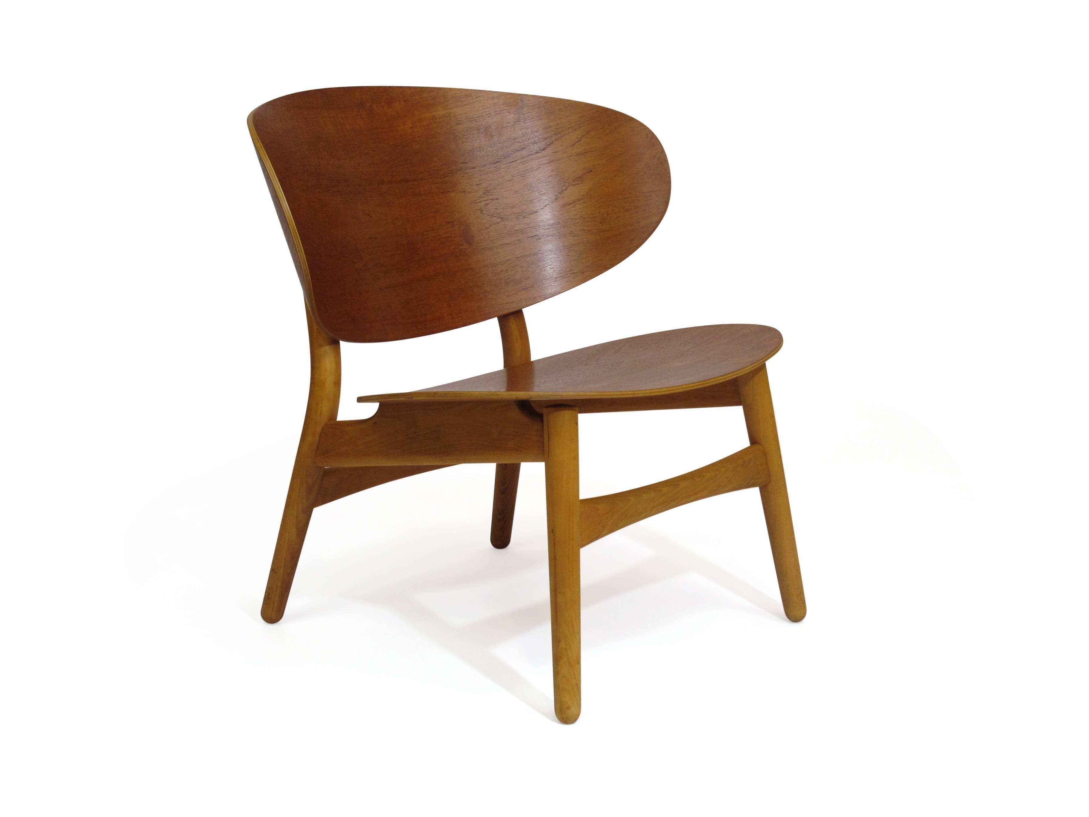 Scandinavian Modern Hans Wegner Teak Shell Chair FH, 1936 For Sale