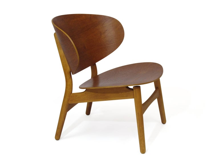 Danish Hans Wegner Teak Shell Chair FH For Sale