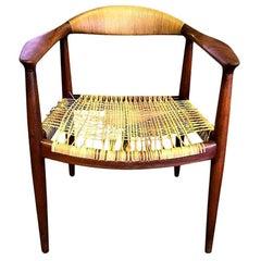 "Hans Wegner ""The Chair"" Early Version Teak and Cane JH-501 Chair Johannes Hansen"