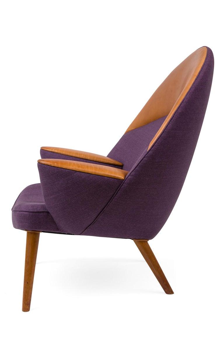 Scandinavian Modern Hans Wegner Upholstered Peacock Easy Chair Model JH521, Denmark, 1953 For Sale