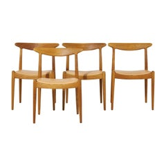 Hans Wegner W1 Chairs Leather Upholster for C.M. Madsen, Denmark 1950s, Set of 4