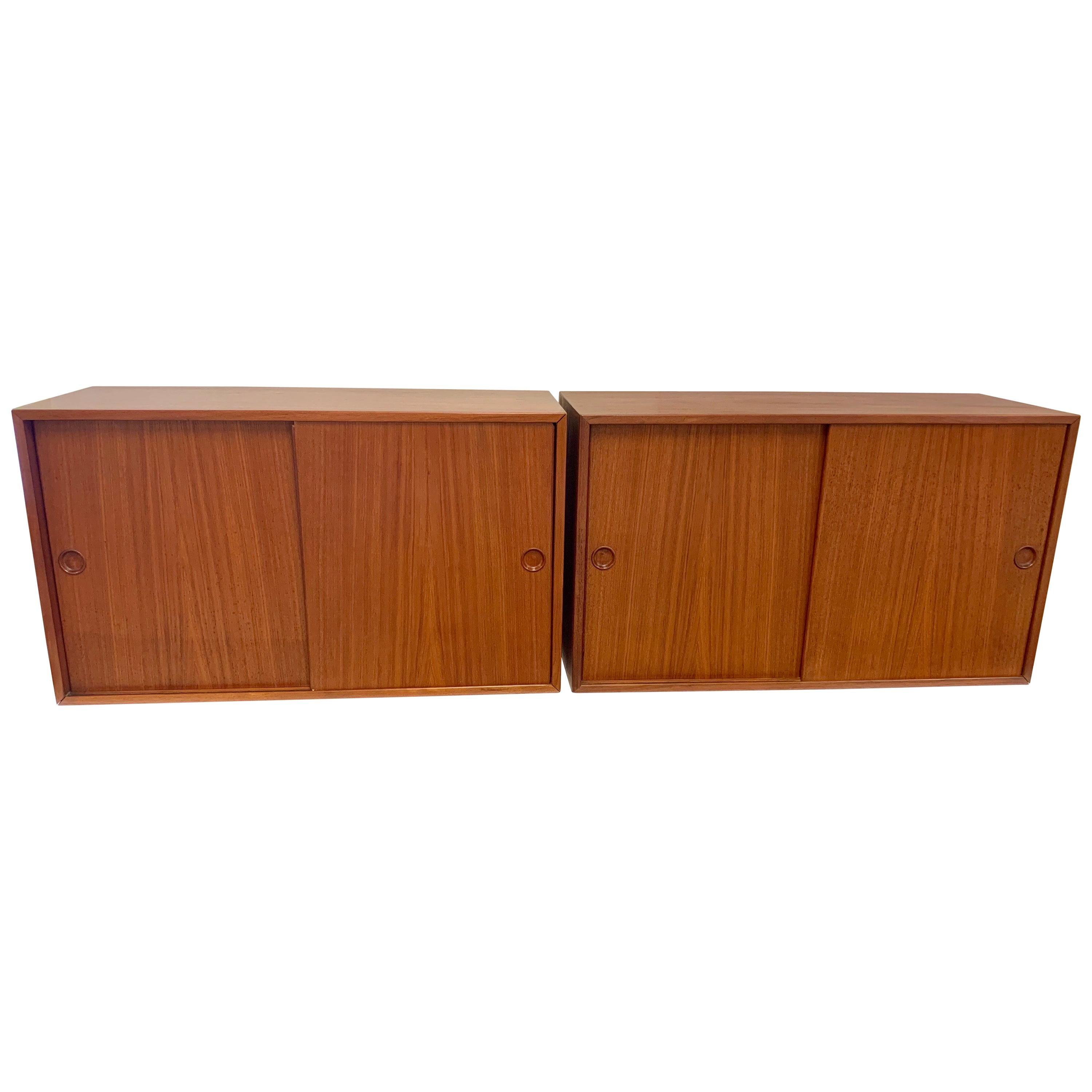 Mid Century Hans Wegner Wall Mounted Sideboards Hanging Cabinets, Pair