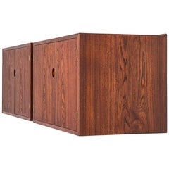 Hans Wegner Wall-Mounted Sideboards in Teak by Johannes Hansen in Denmark