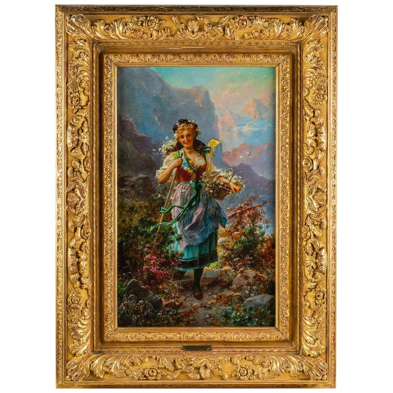 "Hans Zatzka a Very Fine Oil on Canvas ""Flowers of the Alps"" For Sale"