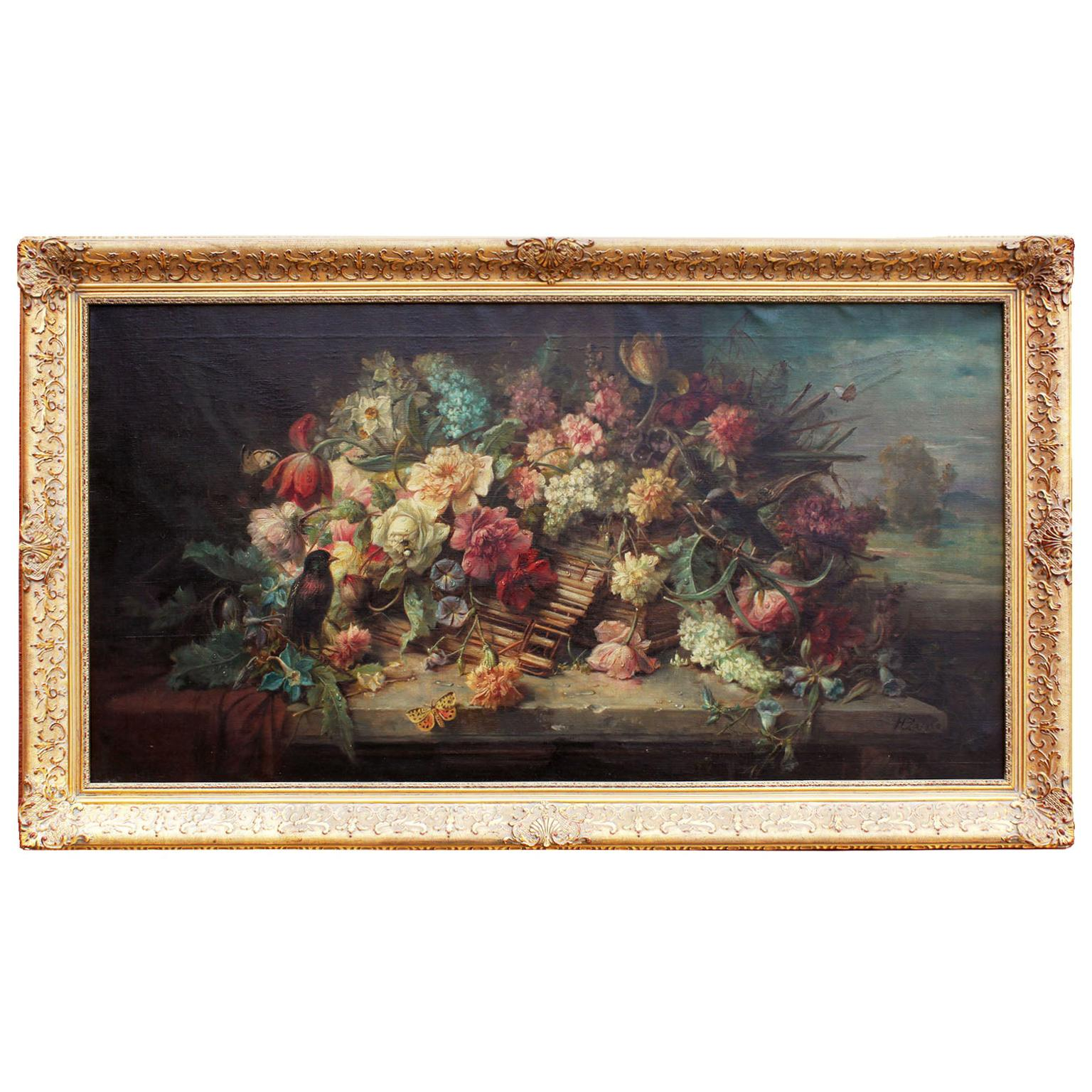 "Hans Zatzka Oil on Canvas ""Wicker Basket of Spring Flowers"""