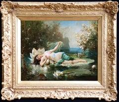 A Water Nymph - 19th Century Oil, Nude Female Figure in Landscape by Hans Zatzka