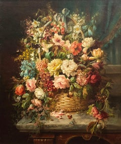 Floral Still Life with Butterflies and Bee