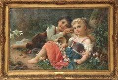 "Hans Zatzka, 'Austrian, 1859-1945' Exceptional Oil on Canvas ""Young Children"""