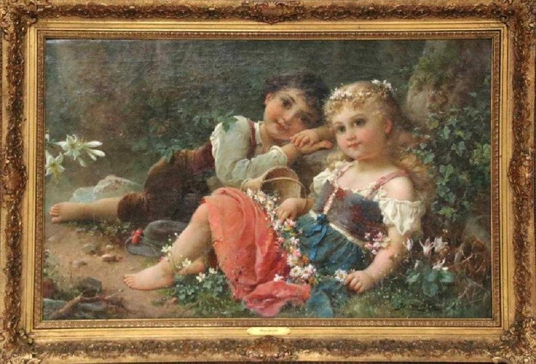 "Hans Zatzka, 'Austrian, 1859-1945' Exceptional Oil on Canvas ""Young Children"" - Painting by Hans Zatzka"