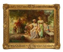 "Hans Zatzka ""Two Ladies In A Garden"" Oil on Canvas Painting"