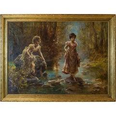 Two Women Crossing a Stream in The Forrest by Hans Zatzka