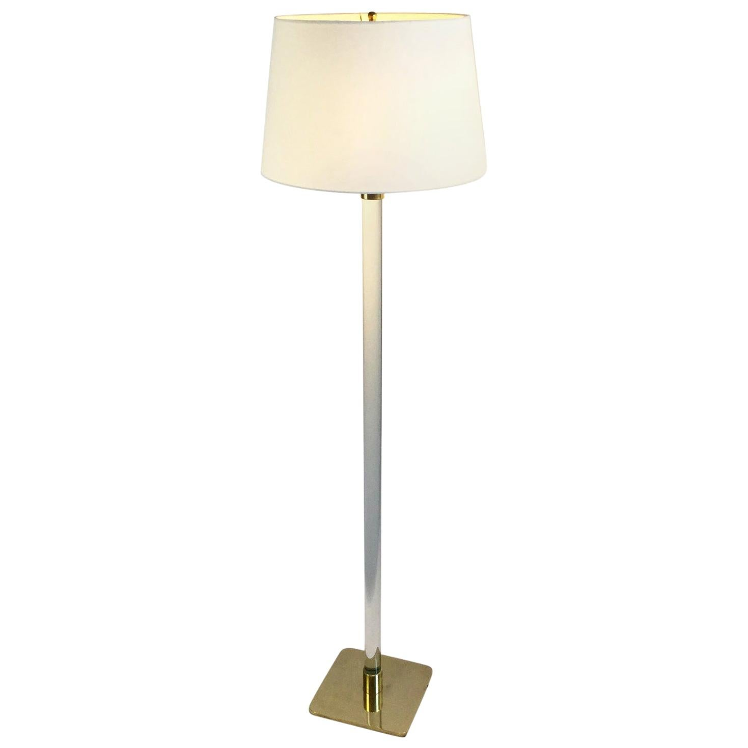 Hansen Brass and Glass Floor Lamp by Hansen Lighting Company, New York, 1970s