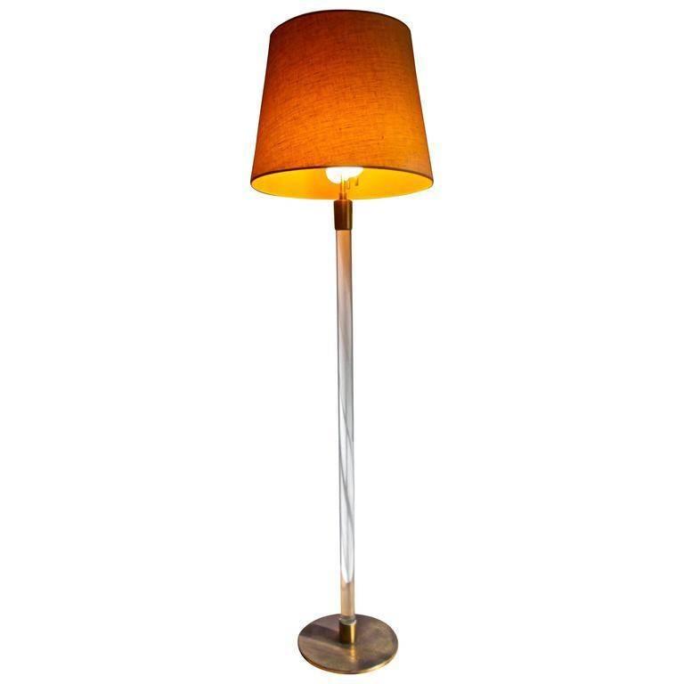 Hansen Lighting Glass Rod and Brass Floor Lamp