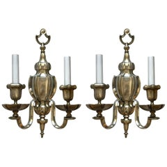 Hansom Pair Of Caldwell Georgian Silvered Bronze Neoclassical Urn Form Sconces