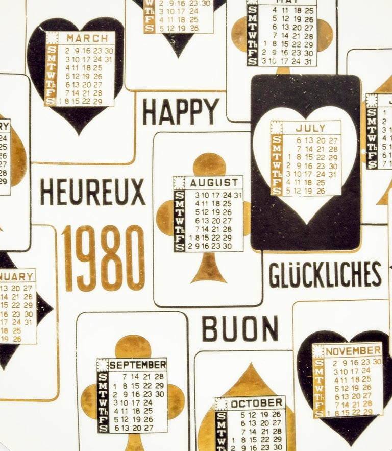 Buon 1980 Calendario is a silk-screened porcelain plate, designed by Piero Fornasetti in 1980 from the Calendario series, the Happy New Year dishes series.   Very good conditions.  Black and white ceramic Fornasetti wall plate, illustrated with