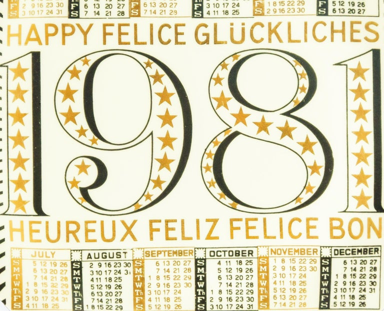 Buon 1981 - Calendario is a silk-screened porcelain plate, designed by Piero Fornasetti in 1981 from the Calendario series, the Happy New Year dishes series.   Good condition.  Black and white ceramic Fornasetti wall plate, illustrated with the