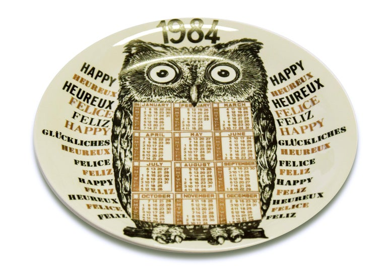Happy 1984, Calendario is a silk-screened porcelain artist plate, designed by Piero Fornasetti in the same year, 1984.  From the Calendario series, the Happy New Year plates series.   Excellent condition, except for some slight signs of