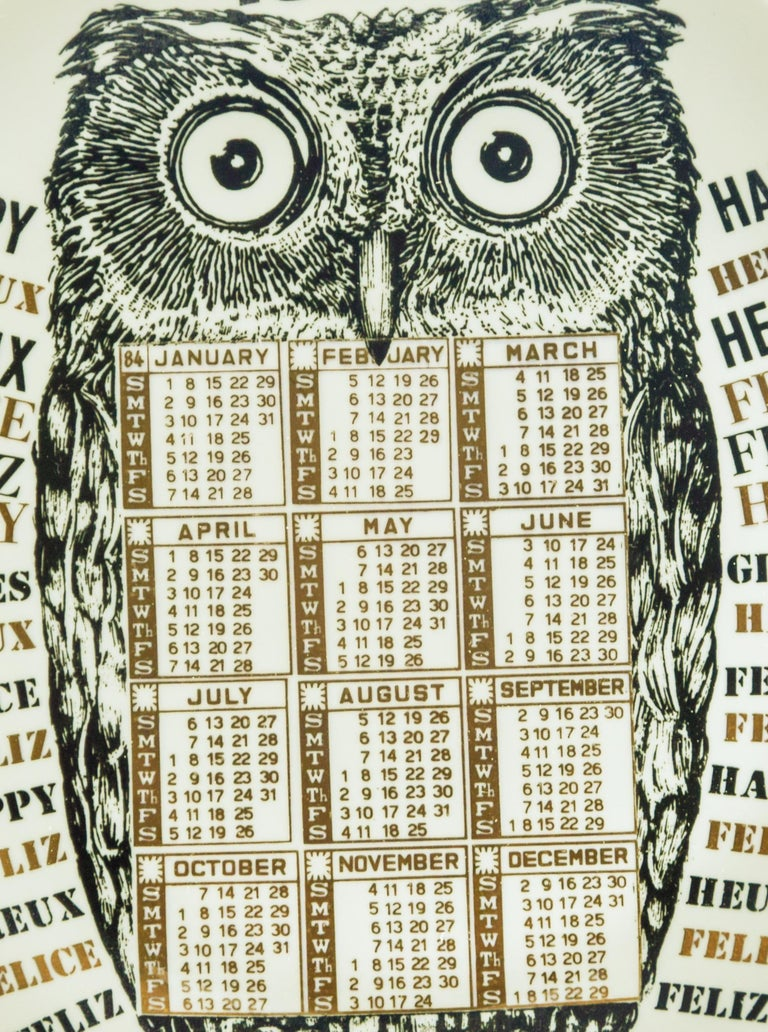 Happy 1984, Calendar Series by Piero Fornasetti, 1984 In Good Condition For Sale In Roma, IT