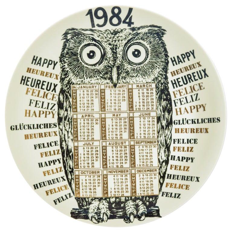 Happy 1984, Calendar Series by Piero Fornasetti, 1984 For Sale