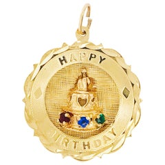 Happy Birthday Charm 14K Gold Charm with Sapphire, Ruby and Emerald Gemstones