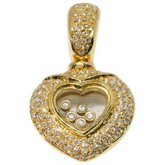 Happy Diamond Heart Enhancer Pendant Floating Diamonds 18 Karat Yellow Gold
