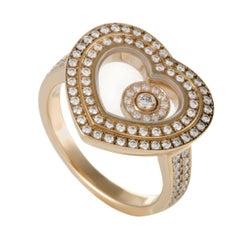 Happy Diamonds Womens 18 Karat Rose Gold Diamond Pave Heart Ring