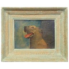 Happy Dog Oil Painting, 20th Century, Characterful, Art, Picture, Framed