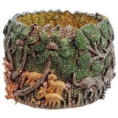 Happy Elephant Jungle Tsavorites and Diamonds Clamper Bracelet