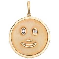Happy Face Medallion Pendant Vintage Diamond Eyes 14k Yellow Gold Large Round